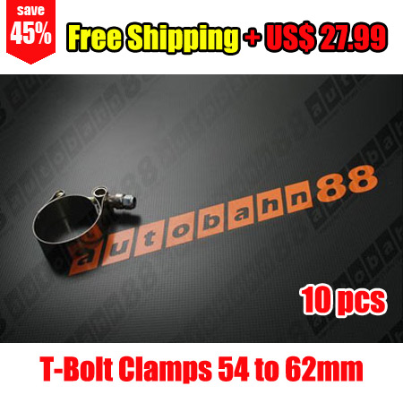 "T-Bolt Clamps 2"" 54 to 62mm Stainless Steel Clips for Silicone Hose Duty Hose x 10pcs"