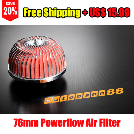 "Universal Air Filter Powerflow Power Flow 76mm 3"" Inlet Red - Autobahn88.com CAPP022-R"