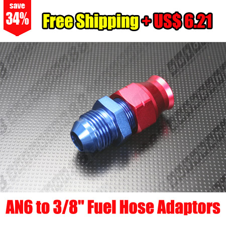 "Free Shipping - AN6 Male to 3/8"" Aluminum Fuel Hose Tube / Pipe / Hardline Fitting Adapter - Autobahn88.com FT161-A06"